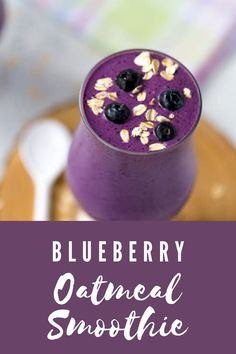 This filling and healthy blueberry oatmeal smoothie is packed with protein and fiber and is perfect for breakfast or an afternoon snack! #homemadeinthekitchen #blueberryoatmealsmoothie #smoothierecipes #blueberryrecipes Easy No Bake Desserts, Homemade Desserts, Dessert Recipes, Oatmeal Smoothies, Breakfast Smoothies, Breakfast Recipes, Beet Smoothie, Smoothie Recipes, Frozen Drink Recipes