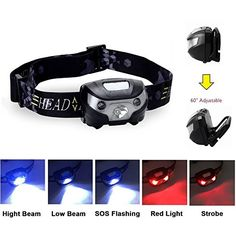 USB Rechargeable Headlamp Flashlight, 5 modes Led head light for Outdoor Sports, 1200mAh Ultra bright LED Headlight with USB Rechargeable Red Lights Adjustable Strip Perfect for Cycling, Running, Walking, Camping, Fishing, Hiking, Hunting and More Activity Hands-Free, Bright Lighting For Indoor And Outdoor Activity: Amazon.ca: Sports & Outdoors