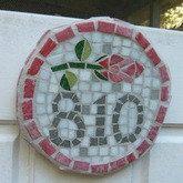 Mosaic Rosebud House Number Kit, by Christine Slocomb