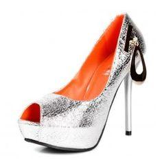 Ripple Metal Pendant Peep-toe High Heel Pump Orange & Silver
