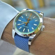 Our light blue 20mm strap on a Rolex Milgauss belonging to my friend @llvll. Thanks as always!  #whatchs www.whatchs.com
