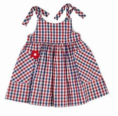 Sleeveless Gingham Sundress, Red/Blue, Size by Florence Eiseman at Neiman Marcus.Florence Eiseman Girls Red / White / Blue Gingham Dress with Pockets and TiesKeep your little cutie stylish without sacrificing comfort by adding Florence Eiseman clothi Baby Girl Dress Patterns, Little Dresses, Little Girl Dresses, Baby Dress, Cute Dresses, Girls Dresses, Toddler Outfits, Kids Outfits, Frocks For Girls