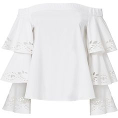 Intermix Women's Jiho Off Shoulder Tiered Sleeve Top (€185) ❤ liked on Polyvore featuring tops, white, flutter sleeve top, long sleeve pullover, sweater pullover, off the shoulder eyelet top and ruffle sleeve top
