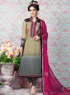 #Beige and #Grey #Printed #Straight #Churidar #Suit Features on french crape fabric top and bottom, printed top with embroidery on yoke and matching chiffon soft printed dupatta.