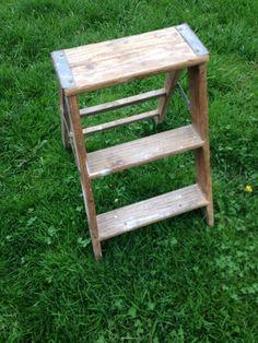 Vintage wood step ladder by PrairieTreasure on Etsy