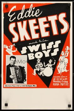 eMoviePoster.com: 1m544 EDDIE SKEETS & HIS SWISS BOYS 13x20 music poster '50s art of big band leader w/accordion!