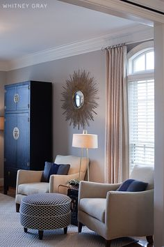 Sitting room furtiture idea. beige with white polka dot drapery on gray wall