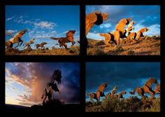 Outstanding photographer Ben Canales took this Gorgeous photo collage of the Wild Horses Monument near Yakima in Vantage Washington off I-95.