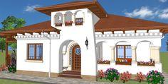 SUPRAFAŢĂ CONSTRUITĂ 160mp SUPRAFAŢĂ DESFAŞURATĂ 232 mp SUPRAFAŢĂ UTILĂ 145 mp ÎNALŢIME CORNIŞĂ 3,30m ÎNALŢIME COAMĂ 6,40m PANTE ACOPERIŞ 25˚ SE ÎNSCRIE ÎN 10,4×14,5m NR. NIVELURI P+M House Front Design, Design Case, Traditional House, Home Fashion, Home Builders, Romania, Colonial, Exterior, Mansions
