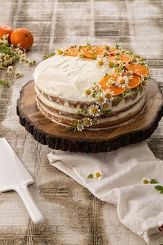 Tangerine-and-Chamomile Cake - American Lifestyle Magazine Pretty Cakes, Cute Cakes, Yummy Cakes, Just Desserts, Delicious Desserts, Yummy Food, Baking Recipes, Cake Recipes, Dessert Recipes
