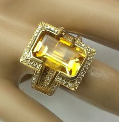 6.0CTTW. Citrine & Diamond Ring In 14K Solid Yellow Gold * ESTATE JEWELRY #rings #jewelry