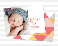 Geometric Baby Girl Announcement #babyannouncement #birthannouncement #pink #orange #babygirl #baby #girl #newbaby #modernannouncement #etsy #etsylove #design #graphicdesign #paperheartprints