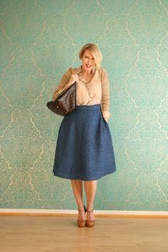 blauer Wollrock, Rock aus Mohair-Wolle, blau mit beige, Winterrock, Outfit