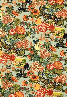 Chiang Mai Dragon in Aquamarine, 173270. http://www.fschumacher.com/search/ProductDetail.aspx?sku=173270 #Schumacher