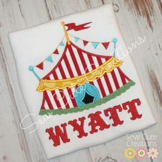 Personalized Circus Tent birthday shirt Custom made Birthday Boys Girls boutique free monogram short long sleeve custom embroidered sew cute
