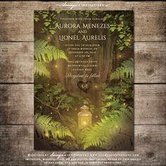 Enchanted Forest Fairy Tale Wedding Invitation, Secret Garden Wedding Invitation, Forest Firefly Wedding Invitation Set, Summer Night's Dream Wedding Invitation Set by Soumya's Invitations