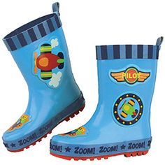 e34dd271ece Airplane Stephen Joseph Rain Boots Cute Airplane Boy Rain Gear Preschool  Kids Boots Blue Navy Red Yellow Green White. Capa De ChuvaBotas ...