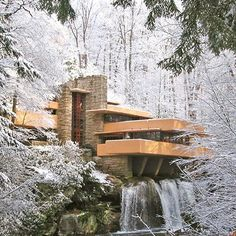 PA State Snow Covered Architecture Around the Frank Lloyd Wright's Fallingwater, Mill Run, Pennsylvania, USA  #travel