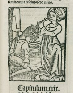 Medieval woman washing lice out of a man's hair, 1497.