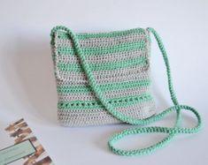 Borsa tracolla per estate, borsa in cotone all'uncinetto, borsa verde