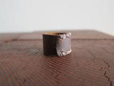 Plain Brown Leather Ring with Light Brown Stitching