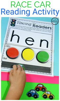 Looking for a fun Kindergarten Reading Practice idea? This interactive racing activity has the children slowly sounding out words, then reading them fast! Phonics Activities, Reading Activities, Kindergarten Activities, Preschool Learning, Reading Games, Teaching Phonics, Children Activities, Interactive Activities, Infant Activities