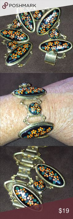 """Hand painted wide vintage bracelet Gorgeous wide gold tone link bracelet with large black stones handpainted with orange flowers. No name stamped on this piece measures 7 1/2"""" Vintage Jewelry Bracelets"""