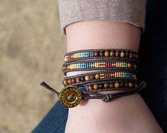 Cherry Creek Jasper & Seed Bead Wrap Bracelet, leather bracelet-beaded bracelet-boho bracelet-handmade bracelet-gemstone bracelet-boho chic