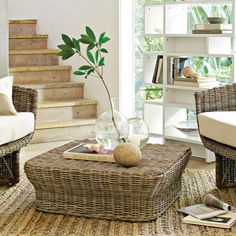 Durable Patio Furniture from Wicker and Rattan Sets Indoor Wicker Furniture, Table Furniture, Home Furniture, Furniture Market, Furniture Companies, Furniture Ideas, Wicker Ottoman, Wicker Coffee Table, Wicker Man