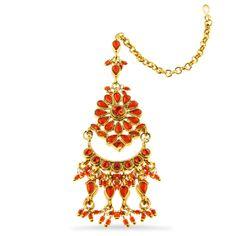 Maang Tika (Forehead Adornment) Orange and Gold  $29 Marigold - Gateway to India www.marigoldaustin.com Marigold, India, Pendant Necklace, Orange, Jewelry, Goa India, Jewlery, Jewerly, Schmuck