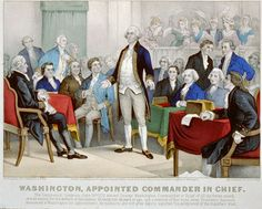 George Washington accepting command of the Continental Army, lithograph by Currier & Ives. circa 1876