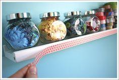 Washi tape - shelf makeover