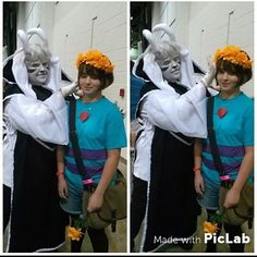 Frisk and Asriel Dreemurr cosplay by starlightcosplays (Frisk) and britishmuffinz (Asriel) on instagram  Undertale cosplay