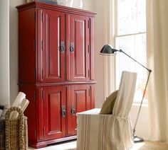 Campton Smart Technology™ Office Armoire - Desa Ming Red | Pottery Barn