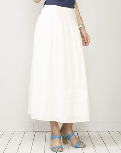Cotton Waist Smocking Skirt