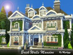 Brick Walls Mansion is a beautful family house in Victorian style built on lot in Windenburg. Found in TSR Category 'Sims 4 Residential Lots' Sims 4 House Plans, Sims 4 House Building, Victorian Castle, Victorian Style Homes, Sims 3 House Downloads, Pre Built Homes, Sims Medieval, The Sims 4 Lots, Sims House Design