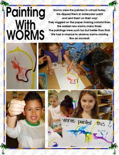 we painted with WORMS Letter W, School Today, Worms, Watercolour Painting, Kindergarten, Ads, Kindergartens, Preschool, Preschools