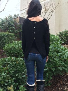 Black sweater with crochet arm detail & tulip style button up back – Maison May❤️Shop NOW MAISONMAY.COM
