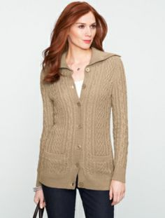 Talbots - Chunky Cable Turtleneck Cardigan | Sweaters | Petites