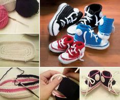 Crochet Baby Shoes Crochet Converse Shoes Free Patterns - You will love this Crochet Converse Baby Booties Pattern Free and we have included a video tutorial to show you how. Check out all the fabulous ideas now. Easy Crochet Slippers, Crochet Slipper Pattern, Crochet Boots, Crochet Bebe, Crochet Baby Booties, Crochet Clothes, Free Crochet, Crochet Patterns, Baby Converse Shoes