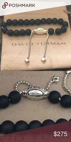David Yurman black spiritual bangle adjustable DY 925 with pouch David Yurman Jewelry Bracelets