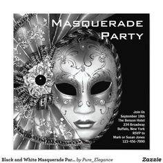 "Black and White Masquerade Party Card Elegant silver, black and white Venetian mask black white masquerade party invitation template. This black and white masquerade party invitation is easily customized for your event by simply choosing the ""Customize it!"" button to begin adding your event details, font style, font size & color, and wording. Please note - all of the stickers, cards and invitation designs you will find on Zazzle are printed graphics with no actual jewels, bows, raised…"