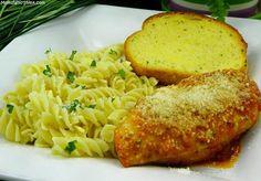 Mozzarella Chicken, Garlic Pasta & Garlic Bread. An easy delicious meal in 30 minutes!