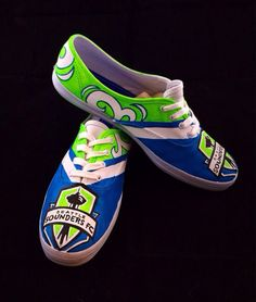 Custom painted Seattle Sounders Shoes by HaloHouse on Etsy Halo House, Mls Cup, Seattle Sounders, Hand Painted Shoes, Yesterday And Today, Seahawks, Custom Paint, Give It To Me, Soccer