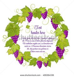 Hand drawn wreath with grapes isolated on white background. It can be used for weddings, invitations, menus, labels for wine and wine vinegar. Violet grapes with bright green leaves. - stock vector