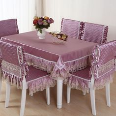 Hot Sale square dining table cloth chair covers cushion tables and chairs bundle chair cover rustic lace cloth set tablecloths The building block of any table setting is the tblecloth. Which is why it's important to pick the right one for your home Purple Dining Chairs, Dining Table Cloth, Dining Room Table Chairs, Dining Chair Covers, Dining Chair Slipcovers, Square Dining Tables, Dining Table Design, Modern Dining Table, Furniture Covers