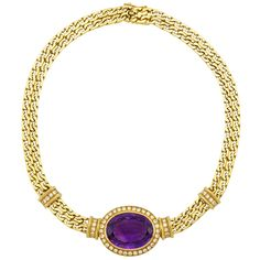 Double Strand Gold, Amethyst and Diamond Curb Link Chain Necklace, France