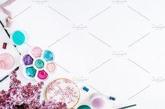Artist workspace. Watercolor Flowers