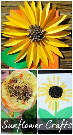 Sunflower Crafts for Kids to Make - Great summer art projects to do! Summer Art Projects, Summer Crafts, Fall Crafts, Projects For Kids, Arts And Crafts, Classroom Crafts, Preschool Crafts, Crafts For Kids To Make, Art For Kids