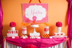 Hot pink & orange bday party!